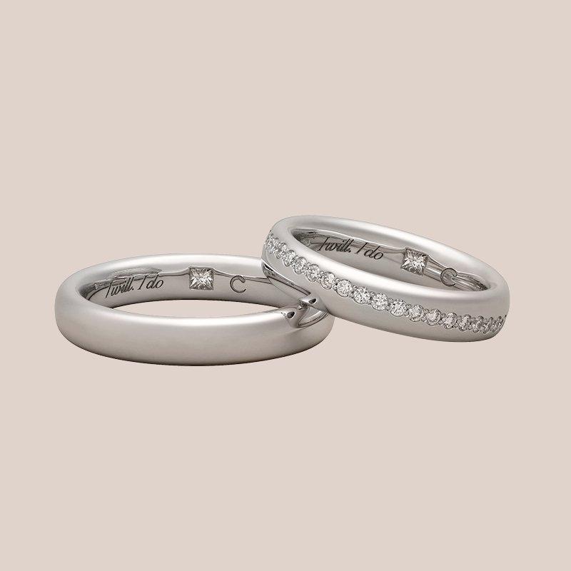 Fedi nuziali in oro bianco e diamanti | I Will I Do Crivelli gioielli sposa