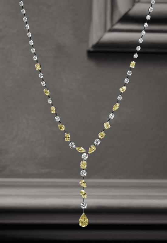 Girocollo in oro bianco giallo e diamanti bianchi e fancy | Crivelli Official
