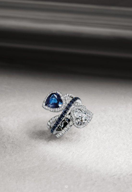 Anello di diamanti in oro bianco con zaffiri | Crivelli Official