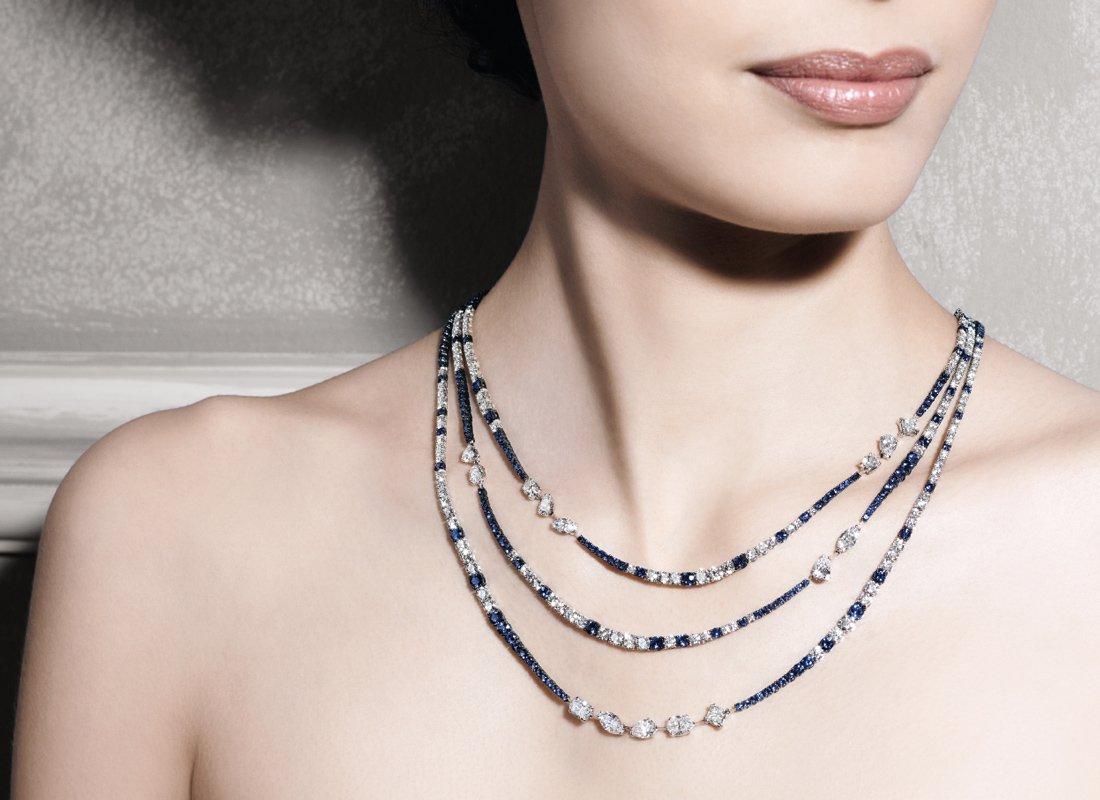 Girocollo in oro bianco zaffiri e diamanti | Crivelli Official