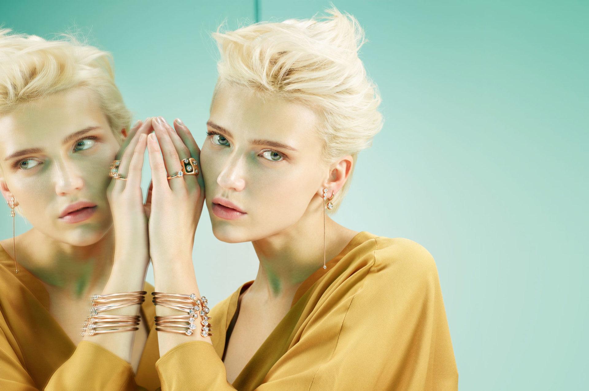 Anelli e orecchini oro rosa con brillante. Bracciali oro bianco o rosa con diamanti. | Crivelli Official