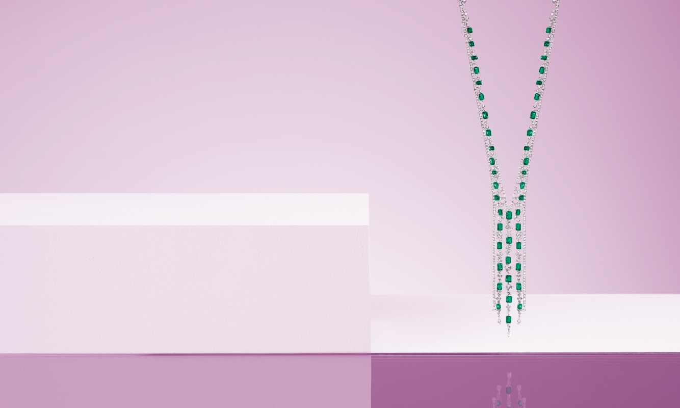 White gold necklace with diamonds and emeralds. | Crivelli Official