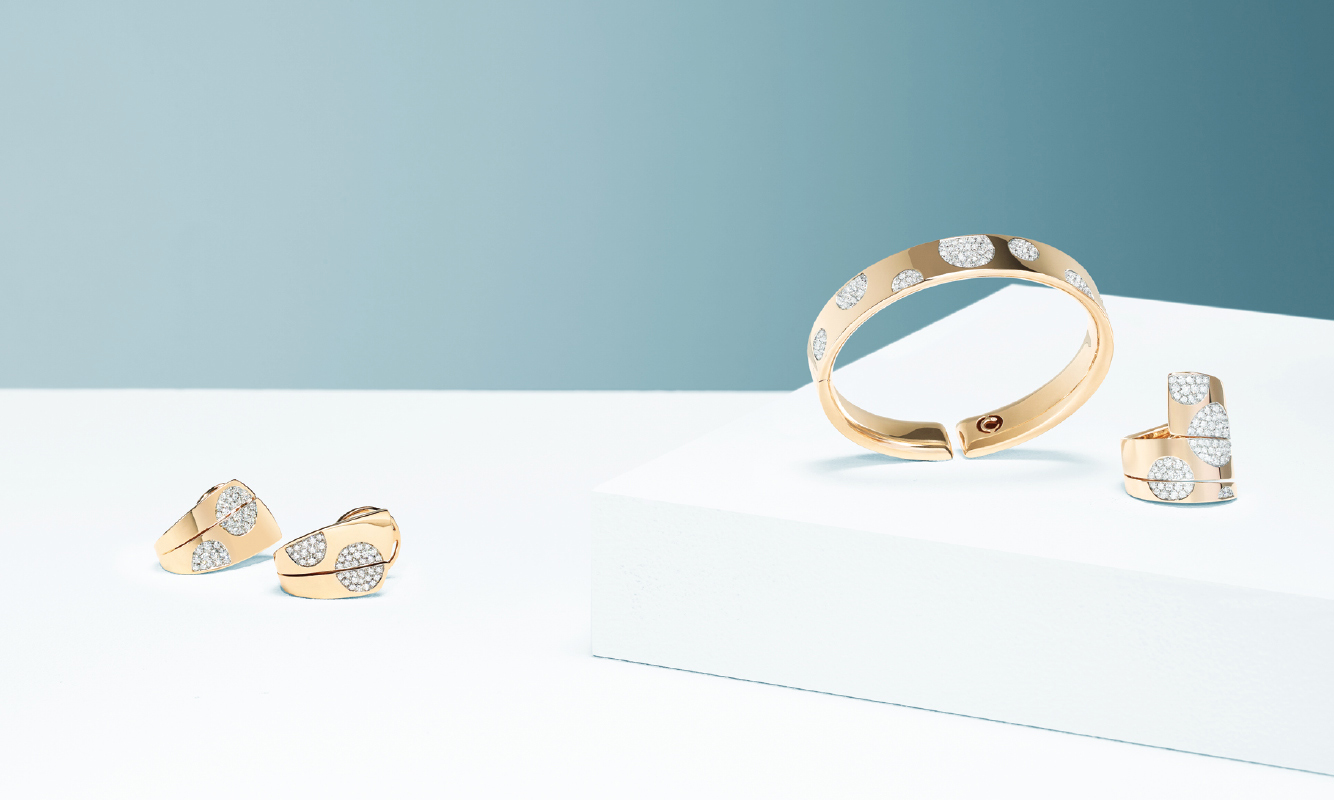 Pink gold earrings, bracelet and ring with brilliants pave. | Crivelli Official