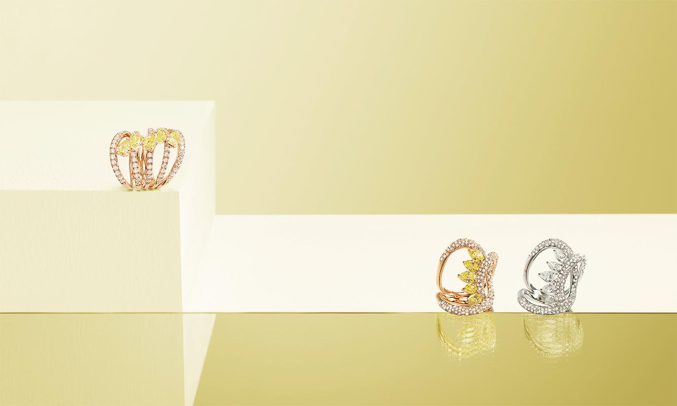 Anelli oro rosa o bianco con diamanti bianchi e fancy. | Crivelli Official