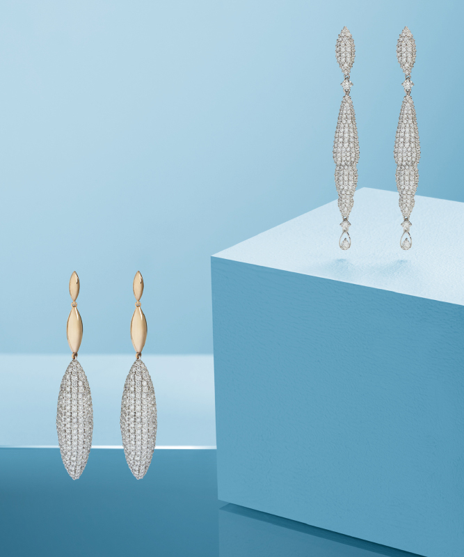 Pink or white gold earrings with brilliants. | Crivelli Official