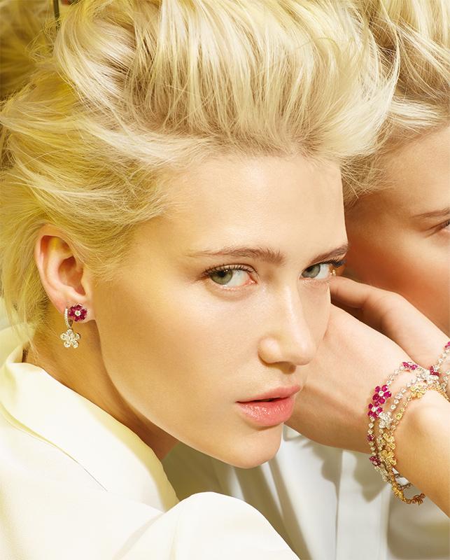 Orecchini oro bianco e diamanti. Orecchini oro bianco con brillanti e rubini. Bracciali oro bianco o rosa con brillanti, brillanti e rubini o brillanti brown e fancy. | Crivelli Official