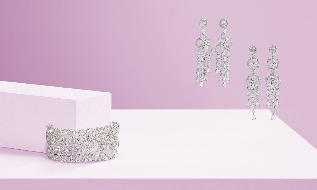 Bracciale oro bianco e brillanti. Orecchini oro bianco e diamanti. | Crivelli Official