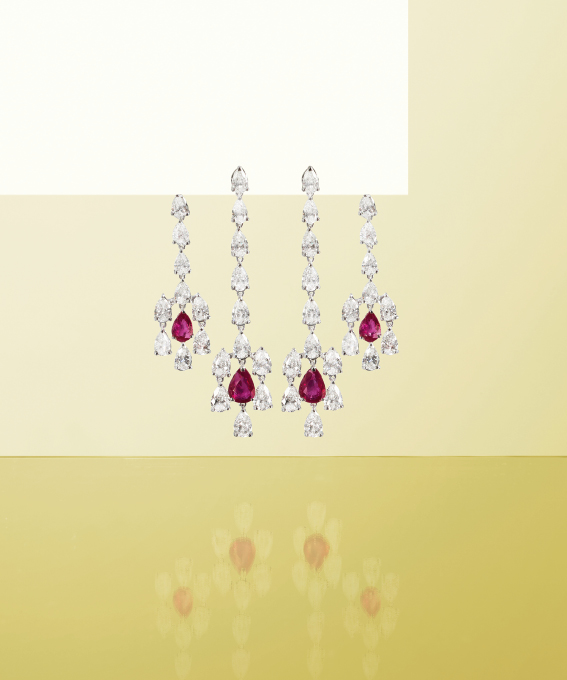 White gold earrings with brilliants and rubies. | Crivelli Official