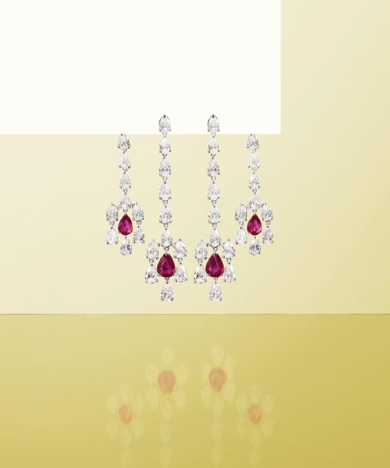 Orecchini oro bianco con brillanti e rubini. | Crivelli Official