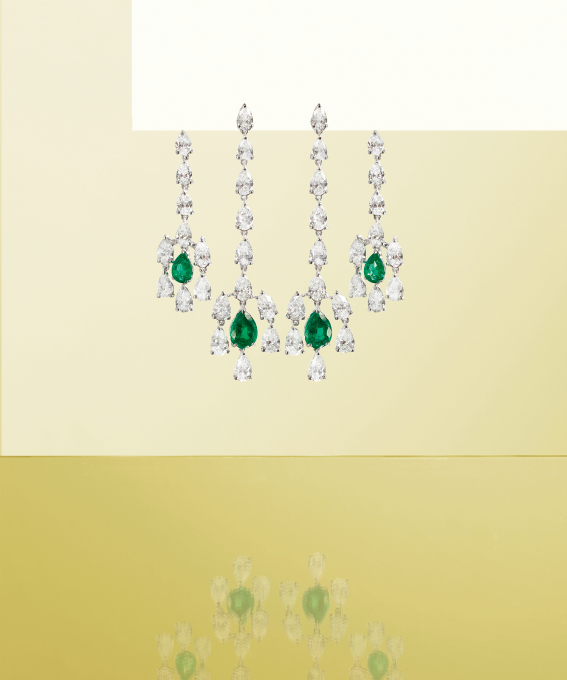 Earrings made of white gold, with brilliants and emeralds. | Crivelli Official