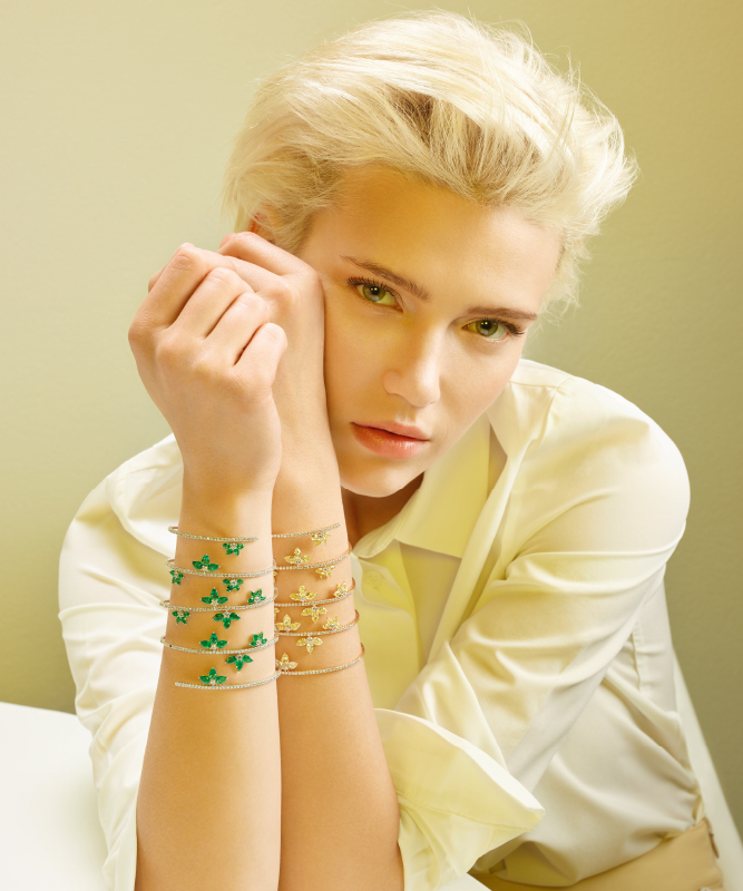 Pink or White gold bracelet with brilliants and emeralds or yellow diamonds. | Crivelli Official