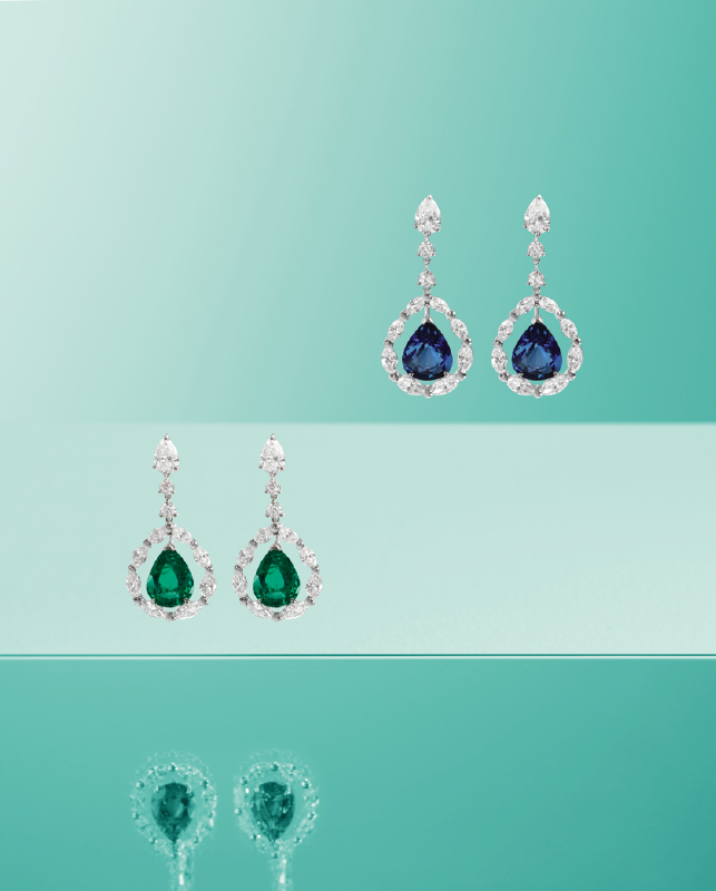White gold earrings with brilliants and emeralds or sapphires. | Crivelli Official