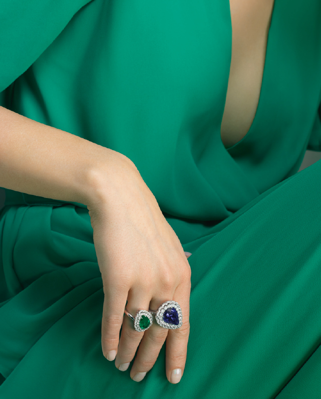 White gold rings with brilliants and emerald or tanzanite. | Crivelli Official