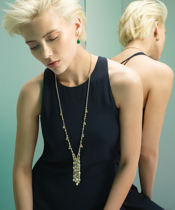 Collana oro rosa e diamanti. Orecchini oro rosa con smeraldi e brillanti. | Crivelli Official