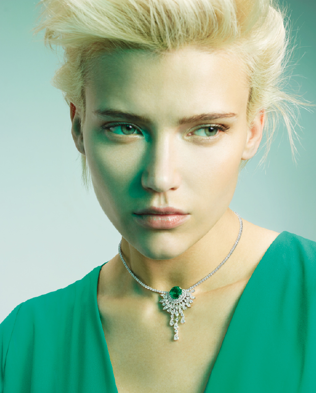 White gold necklace with brilliants and emerald. | Crivelli Official