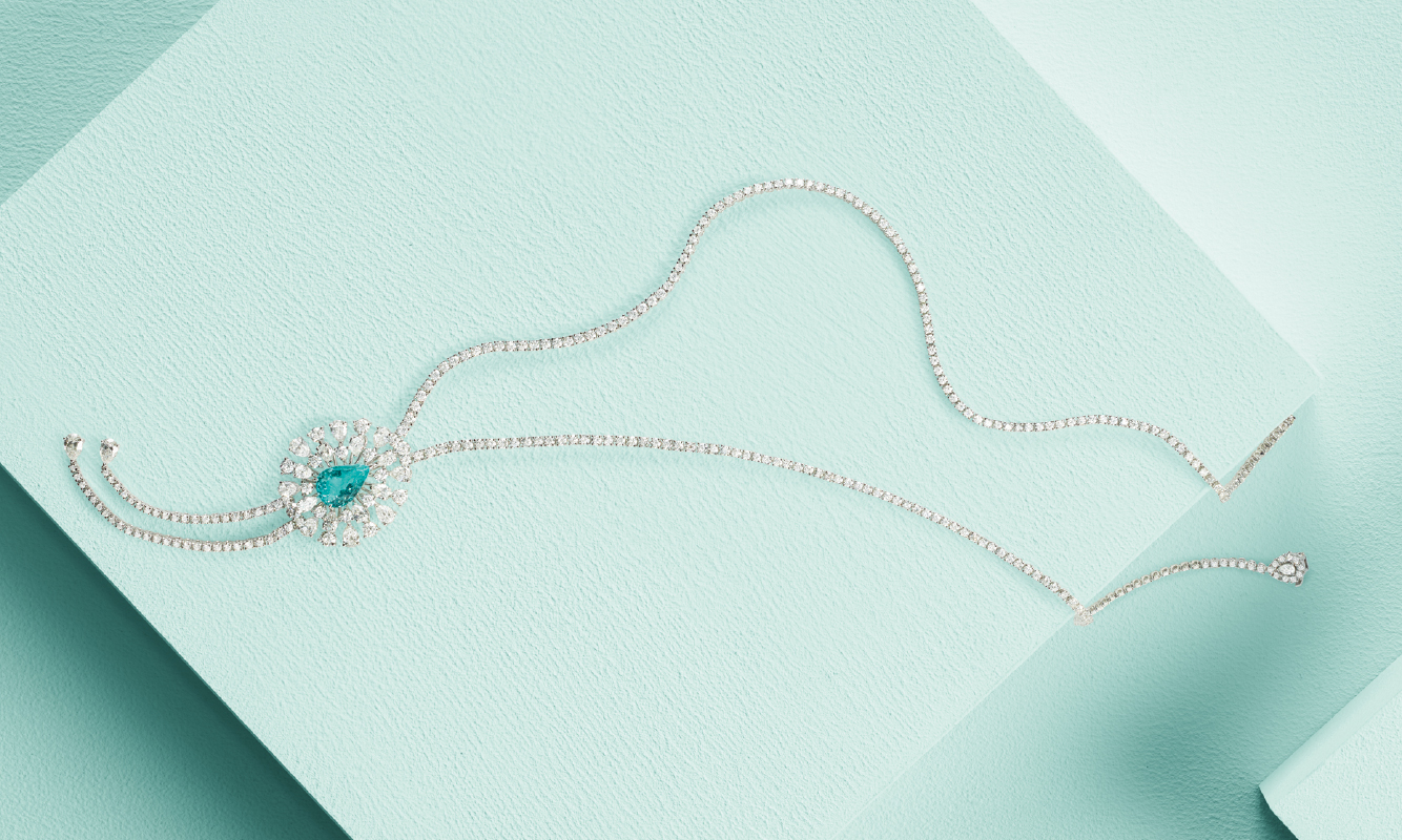 White gold necklace with brilliants and paraiba. | Crivelli Official