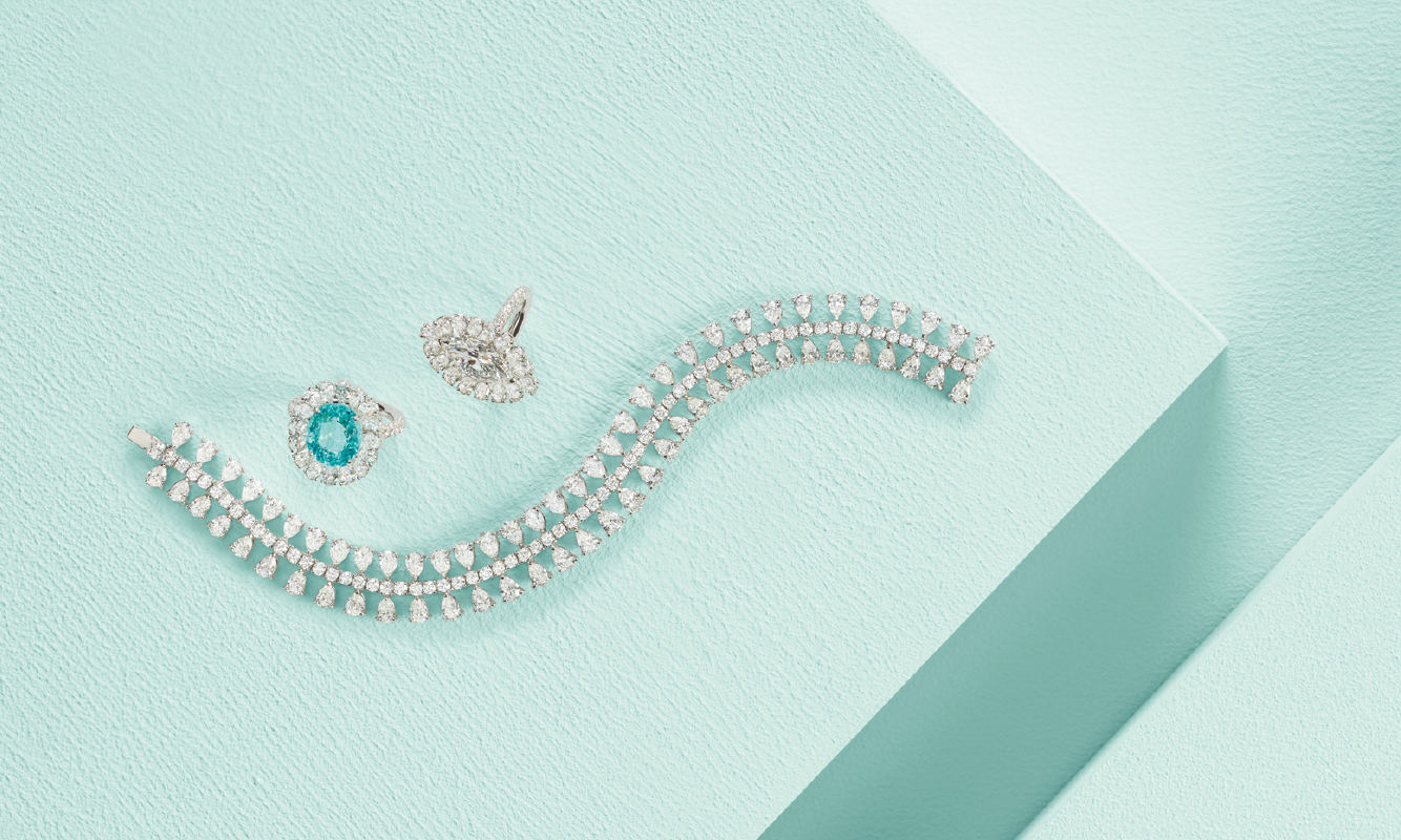 White gold ring with diamonds and paraiba. White gold ring and bracelet with diamonds. | Crivelli Official