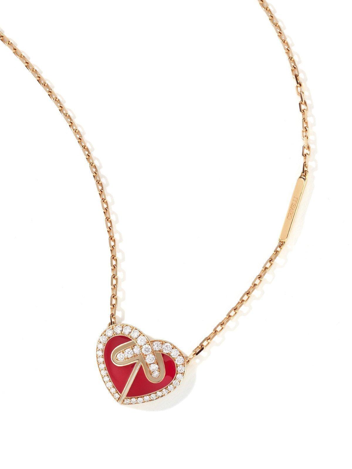 Girocollo UNIONE Collezione ORA PIÙ CHE MAI Crivelli | Collana cuore rosso oro rosa e diamanti