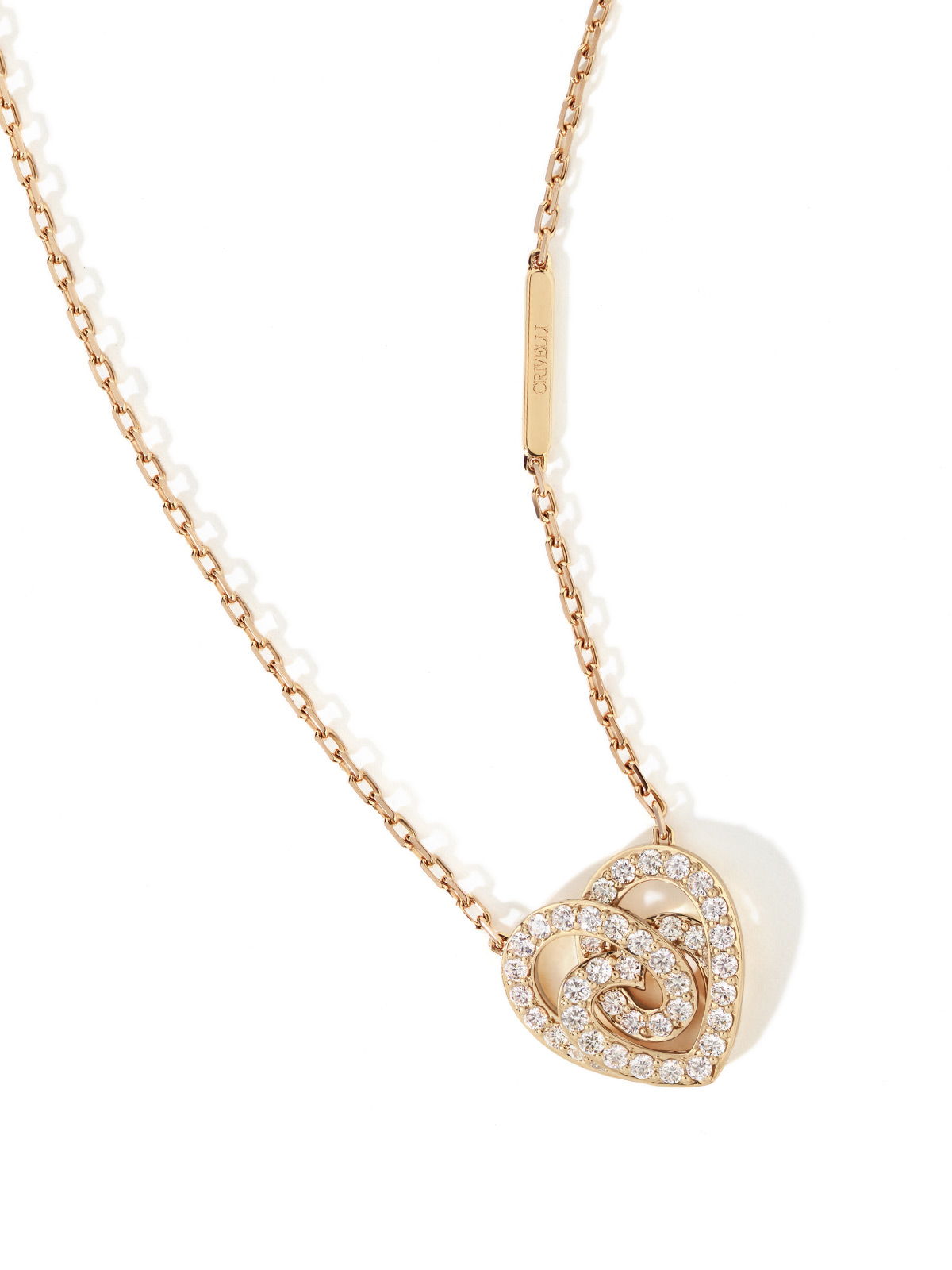 Collana cuore oro rosa full pavé brillanti