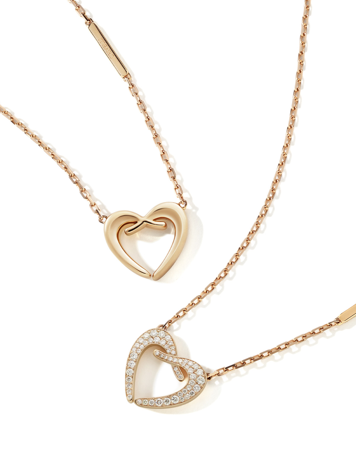 INCONTRO necklace Pink gold heart shaped necklace with diamond pave | INFINITO necklace ORA PIÙ CHE MAI Crivelli - pink gold and diamonds